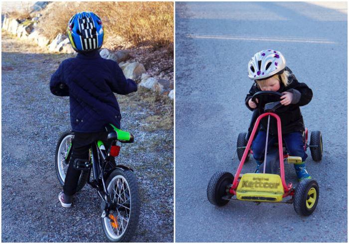 barnen cyklar och åker trampbil