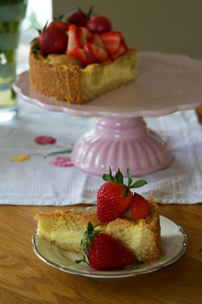 Tysk cheesecake med jordgubbar